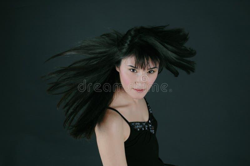 Haar in de wind royalty-vrije stock afbeelding