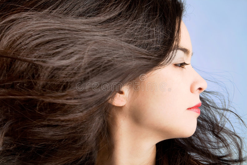 Haar in een Wervelende Wind stock afbeeldingen