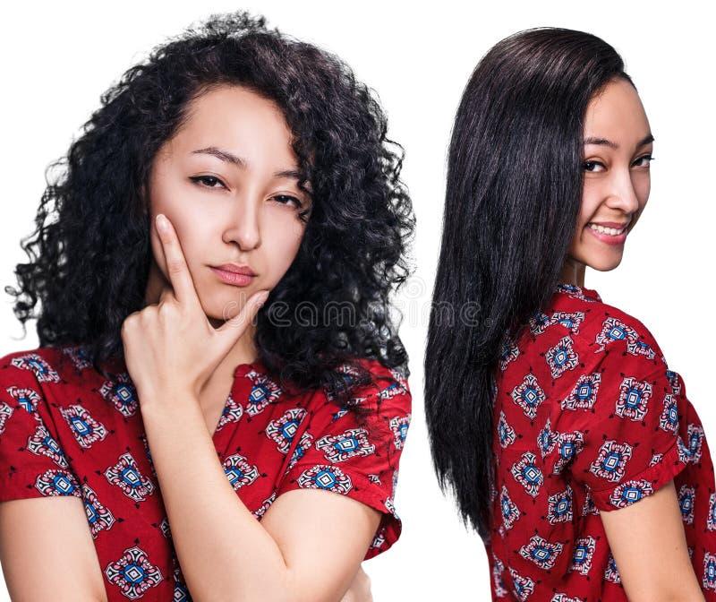 Haar before and after het rechtmaken royalty-vrije stock afbeelding