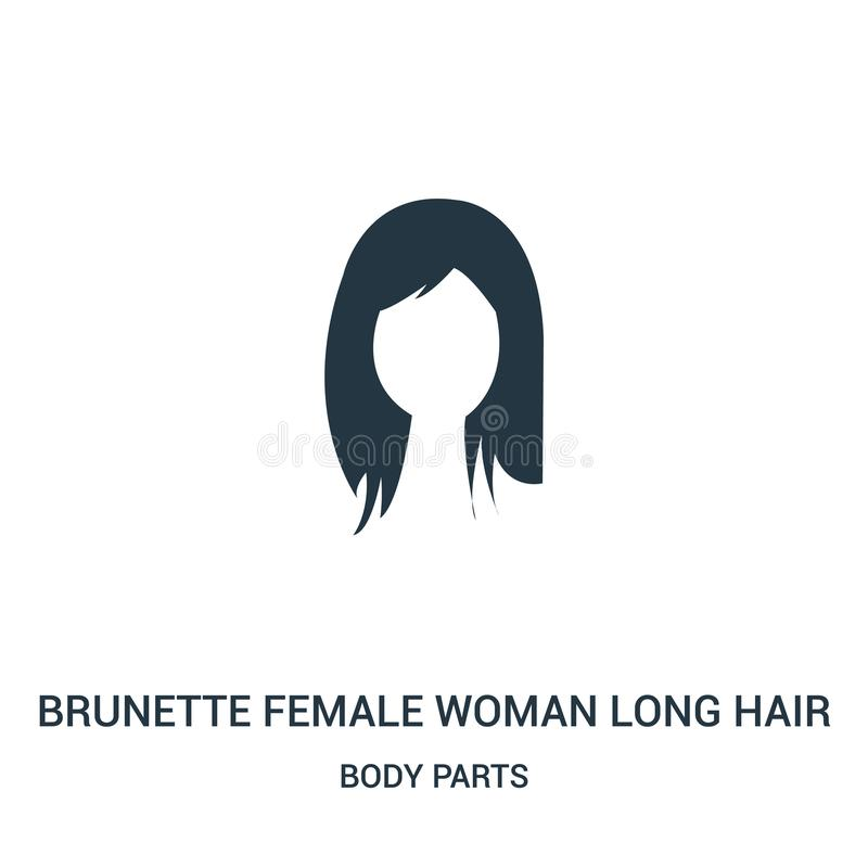 Haar-Ikonenvektor der brunette weiblichen Frau langer von der Körperteilsammlung Dünne Linie Haar-Entwurfsikone der brunette weib vektor abbildung
