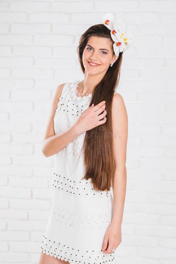 haar Mooi donkerbruin meisje Gezonde Lang De modelvrouw van de schoonheid hairstyle zorg stock fotografie