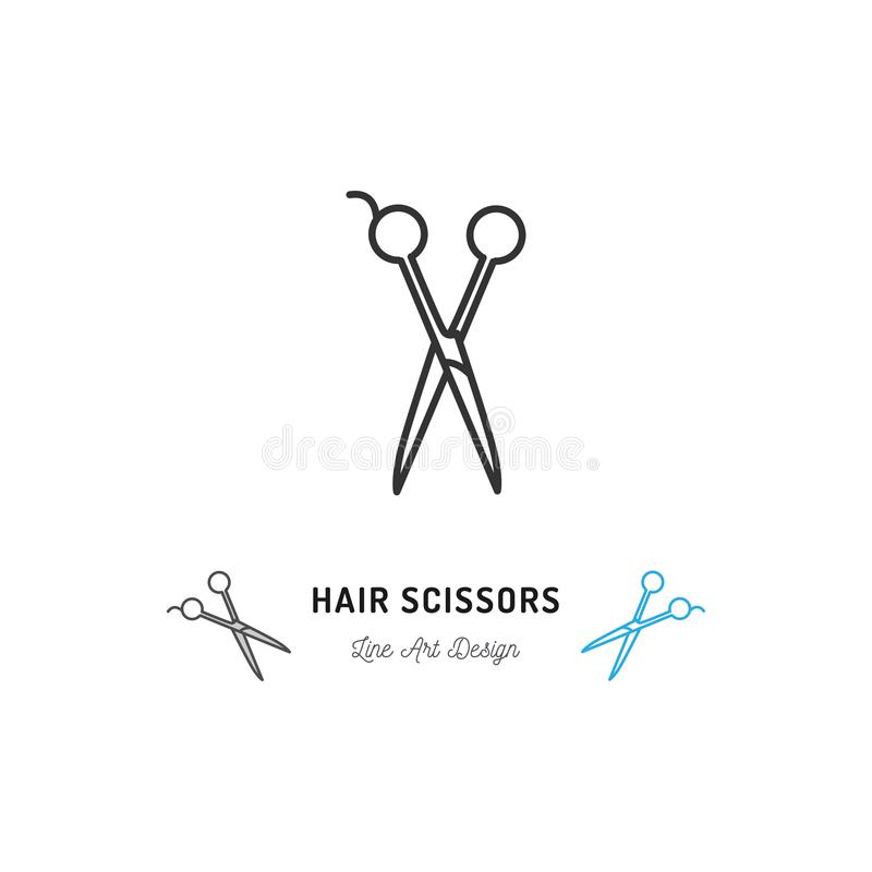 Haar scissors Ikone Dünne Linie Kunstdesign, Vector flache Illustration lizenzfreie abbildung