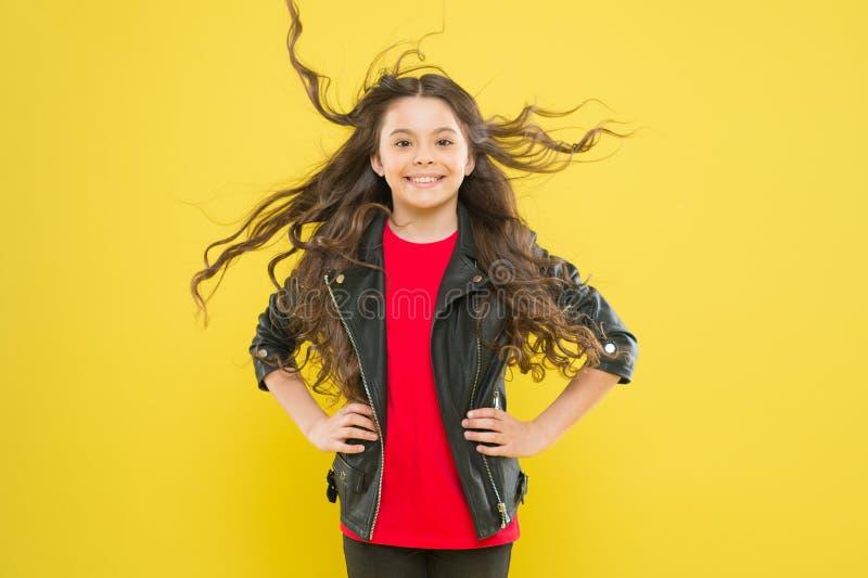 Haar haar straalt gezondheid uit De sterke blijvende winden kunnen tot verwarring en winkelhaken in golvend lang haar leiden Besc stock afbeelding