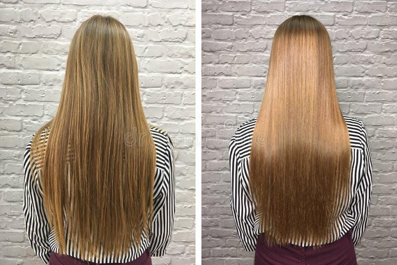 Haar vor und nach Behandlung stockbild