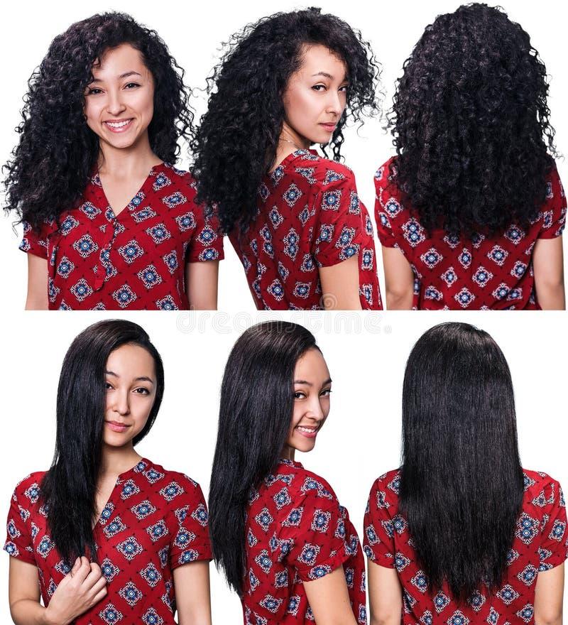 Haar vor und nach dem Geraderichten stockfoto