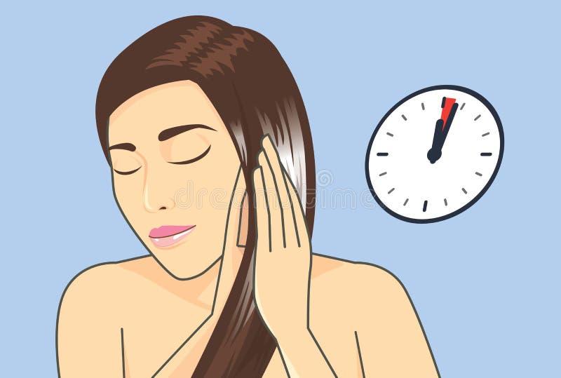 Haarbehandlung in Minute 1-3 mit Pflegespülung vektor abbildung