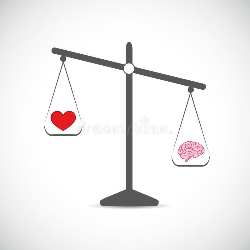 Haard en hersenen in saldo in evenwicht vector illustratie