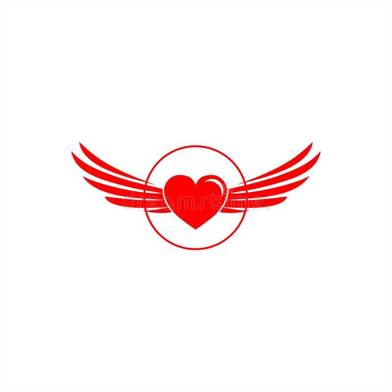 Haard en van het vleugelsembleem ontwerpen vector illustratie