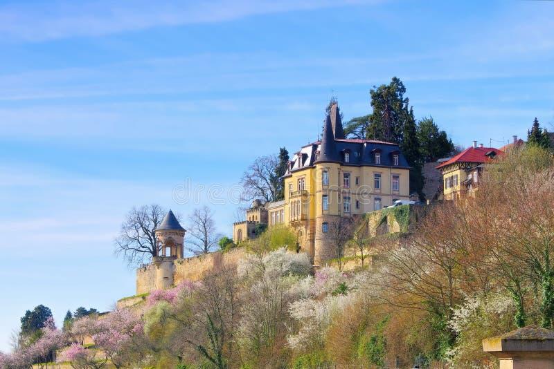 Haardter Schloss während der Mandelblüte im Frühjahr lizenzfreies stockfoto