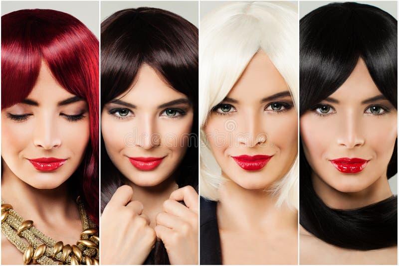 Haarfrauengesicht des Brunette, blonden, braunen und roten Ingwers Weiblicher Gesichtssatz der Haarpflege und der Haarfärbung stockfotografie