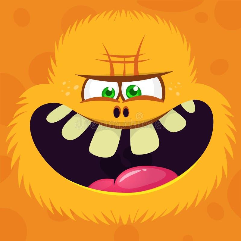 Haarige Yeti oder Bigfoot der verärgerten Karikatur stellen Avatara gegenüber Vektor-Halloween-Monstercharakter vektor abbildung