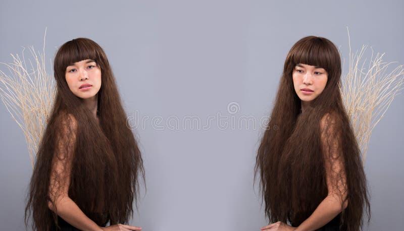 Haariges Mädchenporträt als einsame Dame des defekten Herzens lizenzfreie stockfotos