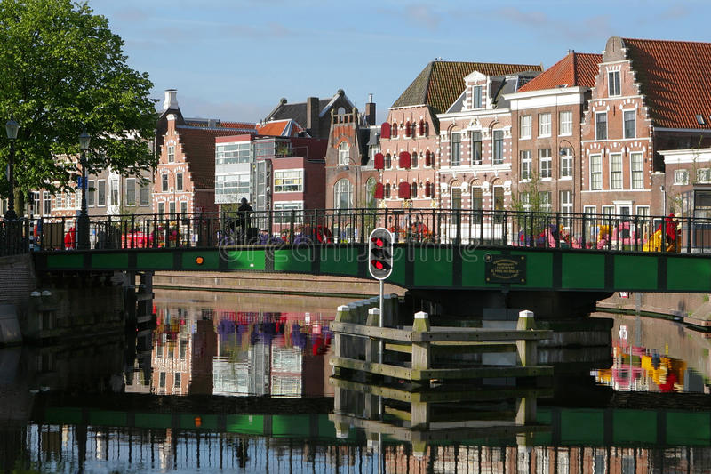 Haarlem embankment on a sunny day with a view of t royalty free stock photo