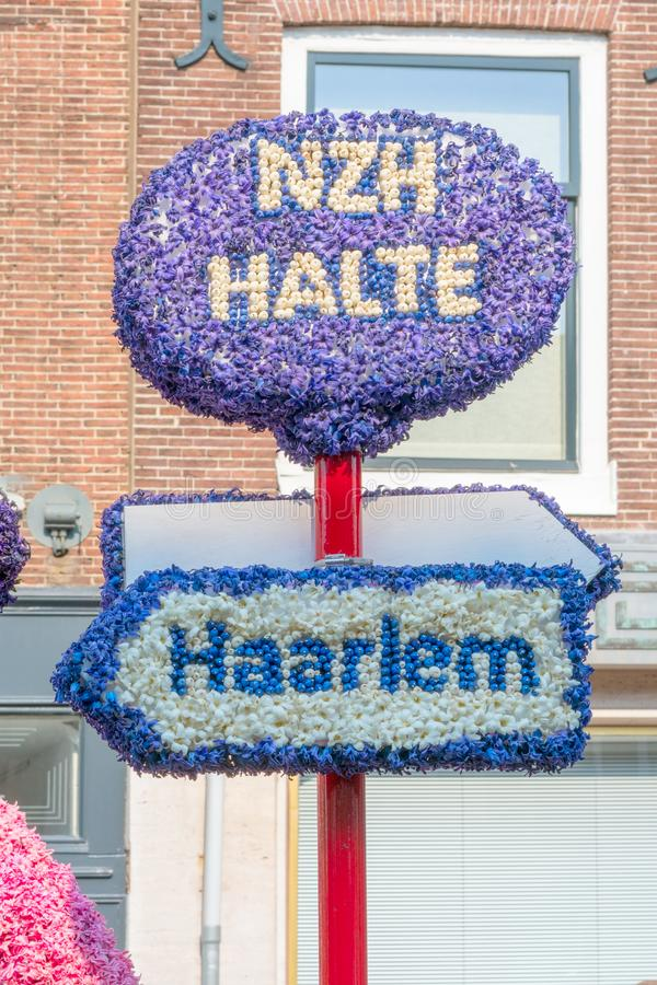 Haarlem, Netherlands – April 14, 2019: ,Bloemencorso BollenStreek,festive spectacle,vehicles decorated with flowers, face of stock photos