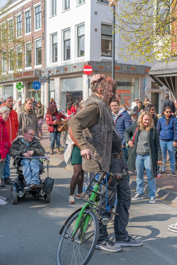 Haarlem, Netherlands – April 14, 2019: Bloemencorso BollenStreek,festive spectacle,vehicles decorated with flowers, face of stock photos
