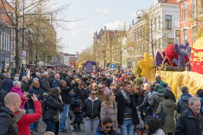 Haarlem, Netherlands – April 14, 2019: ,Bloemencorso BollenStreek,festive spectacle,vehicles decorated with flowers, face of royalty free stock images