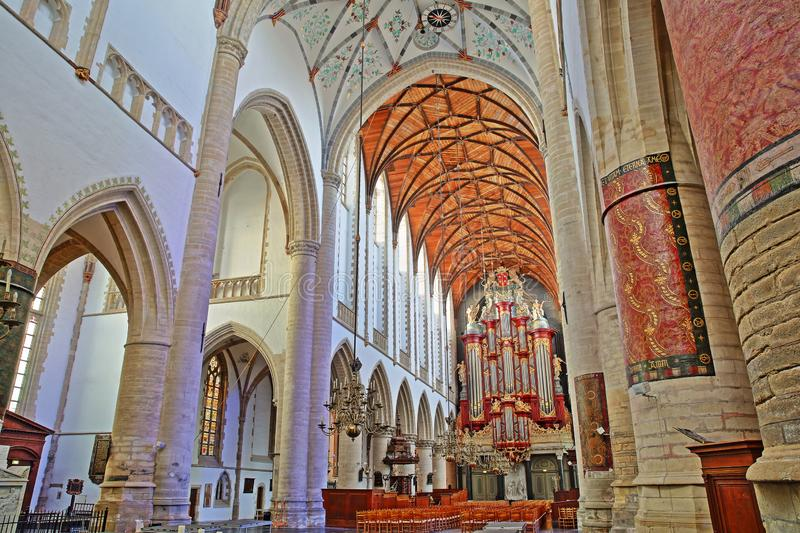 The interior of St Bavokerk Church, with a wooden vaulted ceiling and the organ built by Christian Muller in 1738 royalty free stock photography