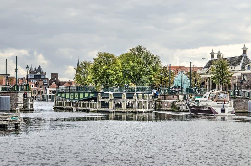 Haarlem rotating bridge opens royalty free stock photography