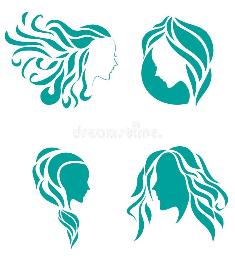 Haarmode-ikonen-Symbol der weiblichen Schönheit vektor abbildung