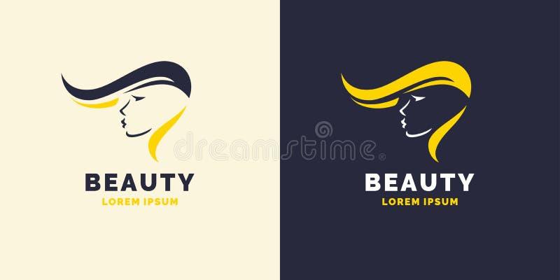 Haarreparatur und helles Logo für den Friseursalon Schattenbild eines Mädchens für einen Schönheitssalon stock abbildung