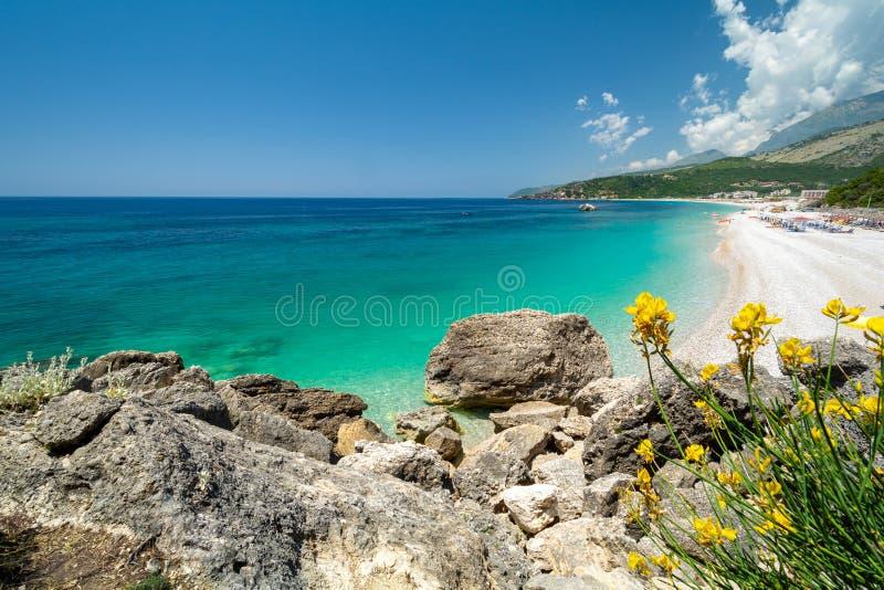 Haarscharfes Wasser auf Livadhi-Strand in Himare auf albanischem Riviera, Albanien stockfotos