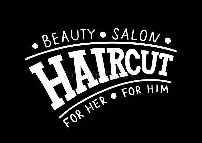 Haarschnitt-Schönheits-Salon für sie für ihn - Handgezogenes Logo, Schild, Schablone für Haar und Schönheitssalon auf schwarzem H vektor abbildung