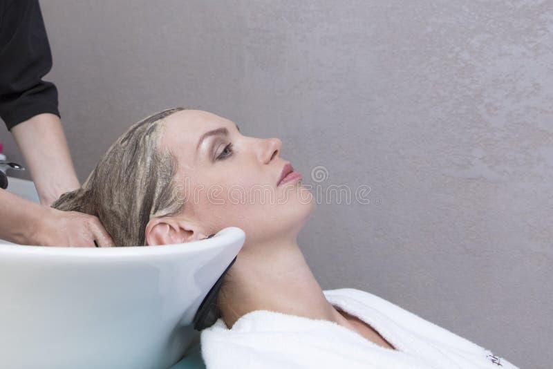 Haarschoonheidsverzorging, vochtinbrengende crèmetoepassing, kapper, haarmasker van een mooie meisje, natuurlijk, een gezondheid  royalty-vrije stock afbeelding