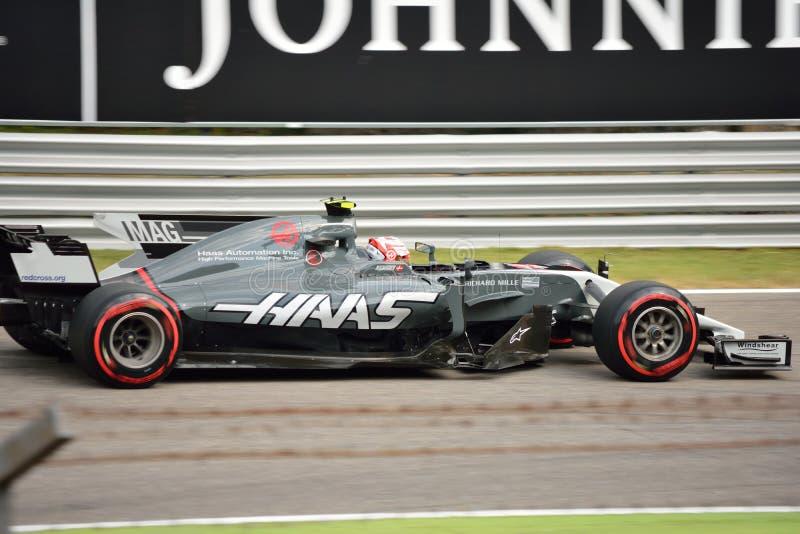 Haas凯文驾驶的一级方程式赛车Magnussen 免版税库存图片
