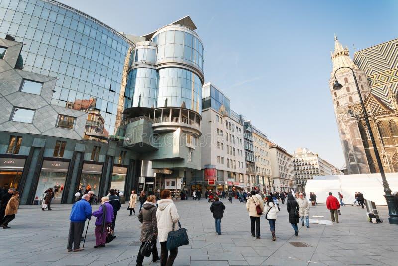 Haas-Haus op Stephansplatz in Wenen, Oostenrijk stock afbeelding