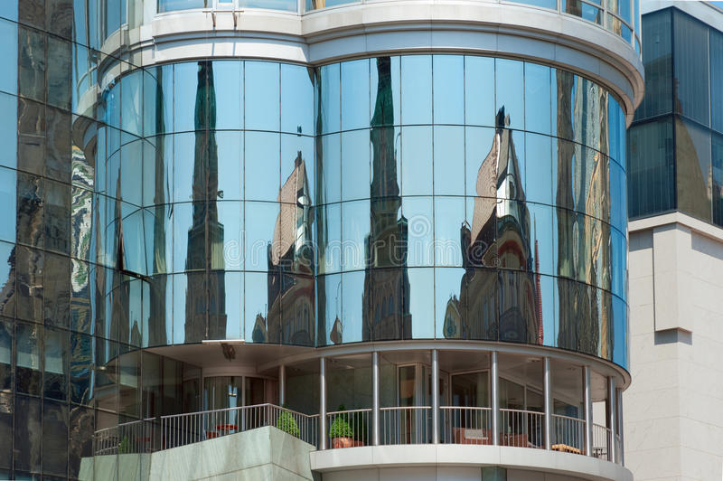 Haas Haus reflecting old Vienna stock photography