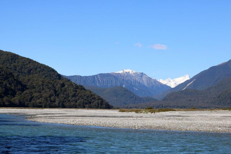 Haast河, Mt解答, Mt病区,新西兰 图库摄影