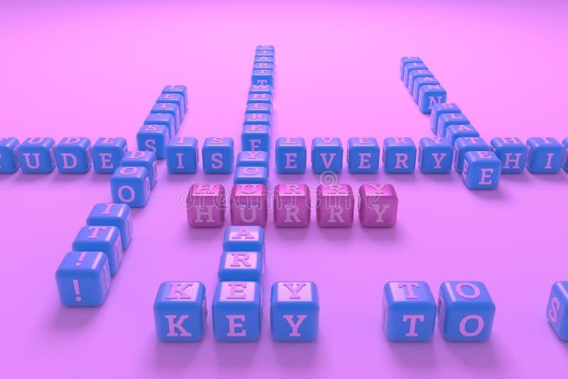 Haast, het kruiswoordraadsel van het motivatiesleutelwoord Voor webpagina, grafisch ontwerp, textuur of achtergrond het 3d terugg vector illustratie