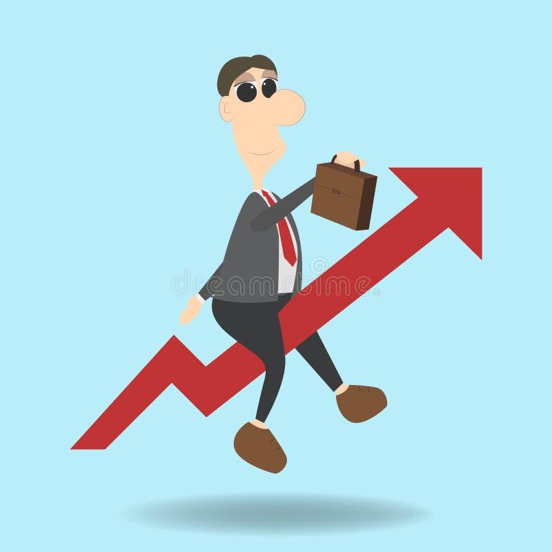 Haast op concept Bedrijfs vectorillustratie Vliegende zakenman zoals een het toenemen pijl vector illustratie