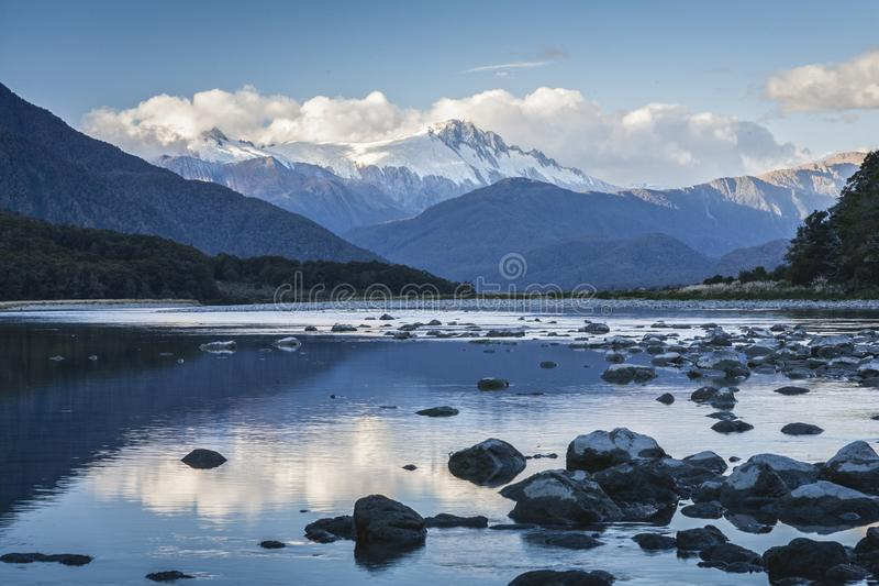 Haast River and Mount Hooker, New Zealand stock photo