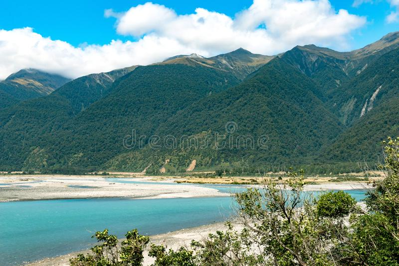 Haast River, South Island, New Zealand royalty free stock photo