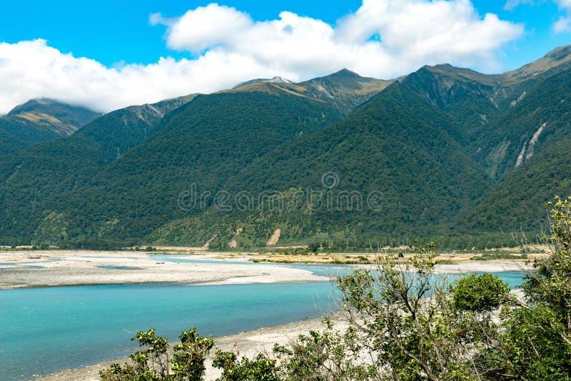 Haast rzeka, Południowa wyspa, Nowa Zelandia zdjęcie royalty free