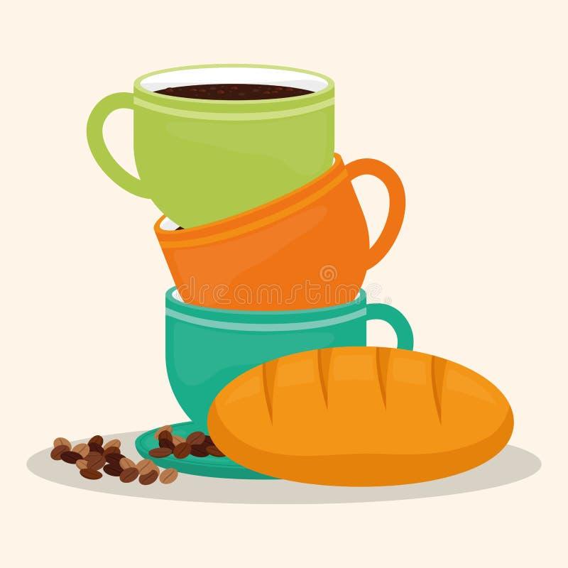 Haba del postre del pan de la taza de café libre illustration