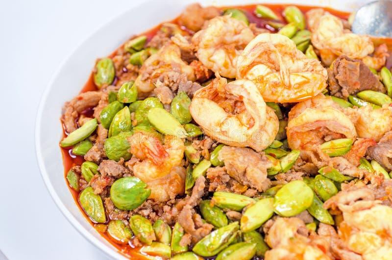 Haba sofrita del hedor con la gamba, comida asiática foto de archivo