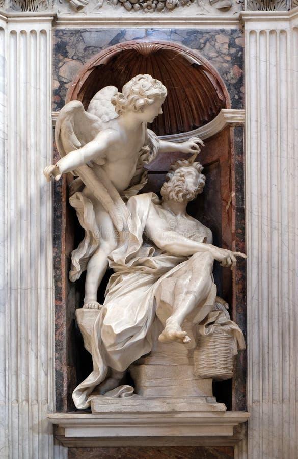 Habakkuk und der Engel stockbilder