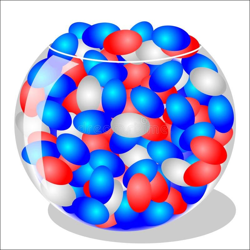 Habas de jalea rojas, blancas y azules ilustración del vector