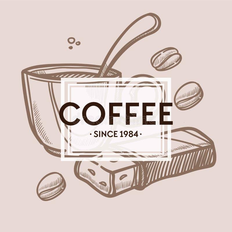 Habas de la taza de café y cartel monocromático de la barra de chocolate stock de ilustración