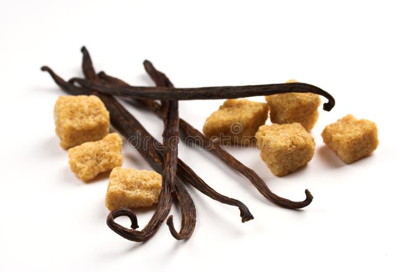 Habas de vainilla y azúcar marrón imagenes de archivo
