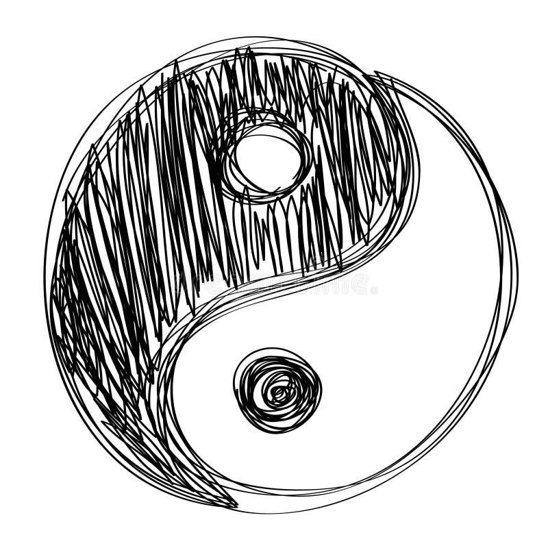 Habd do sinal de Ying yang desenhado ilustração royalty free