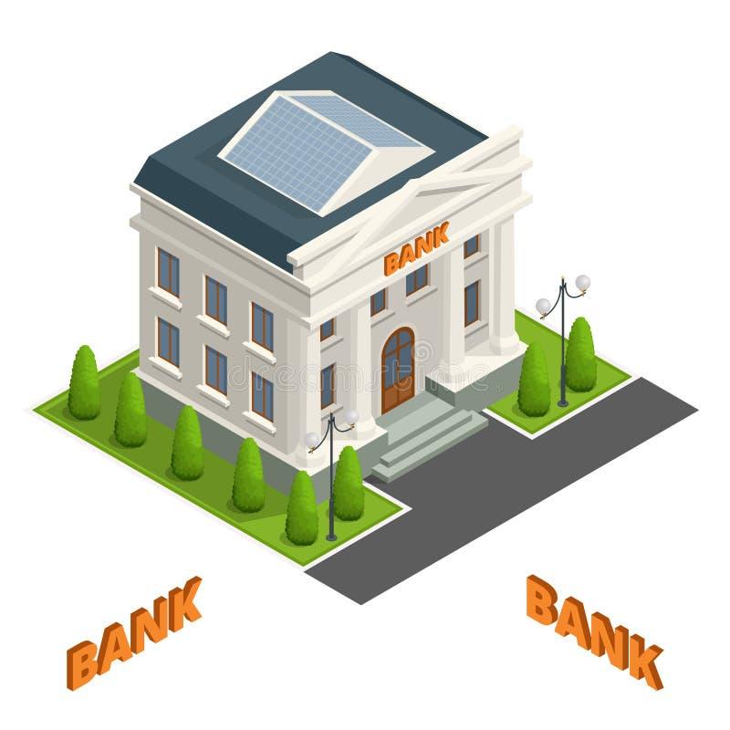 Haben Sie die Finanzgebäude-Illustrationsikone ein bankkonto, die auf weißem Hintergrund lokalisiert wird cityscape Symbole des G lizenzfreie abbildung