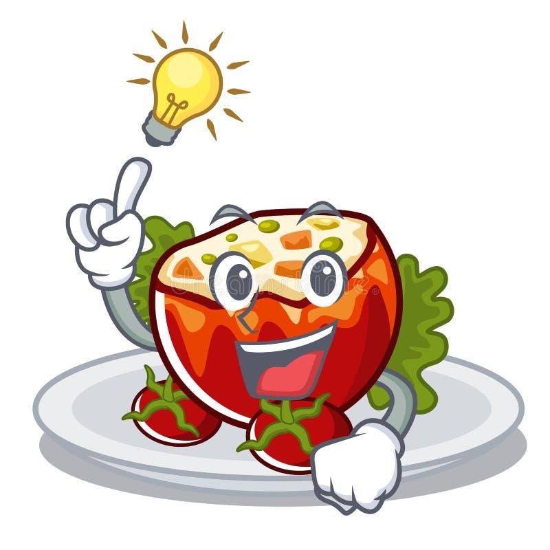 Haben Sie eine Idee anfüllte Tomaten in der Karikaturform vektor abbildung