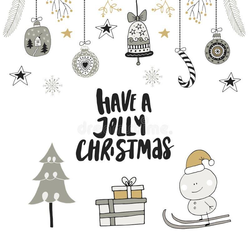 Haben Sie Jolly Christmas - übergeben Sie gezogene Weihnachtsbeschriftung mit Blumen- und Dekorationen Netter Clipart des neuen J stock abbildung