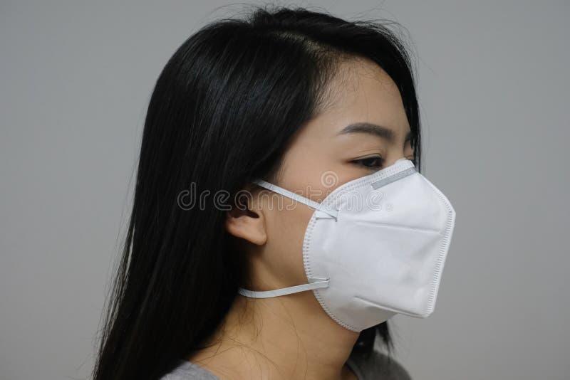 Haben tragende Gesichtsmaske der Frau von N95 wegen der Luftverschmutzung in der Stadt Feinstäube oder P.M. 2 5 lizenzfreies stockfoto