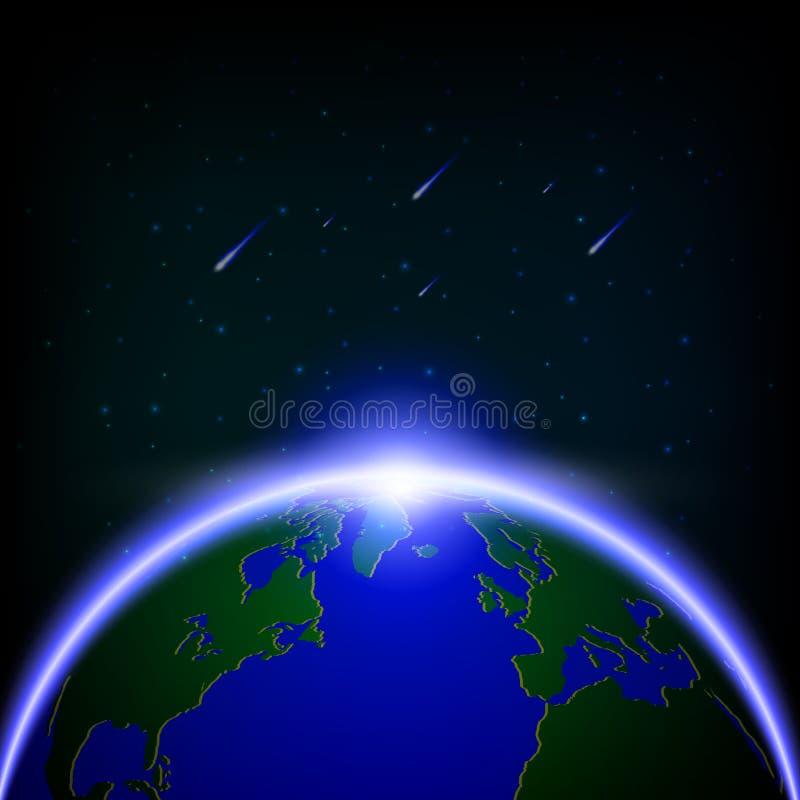 Haber iluminado global y lluvias de meteoritos, illustratio de la galaxia del vector fotos de archivo