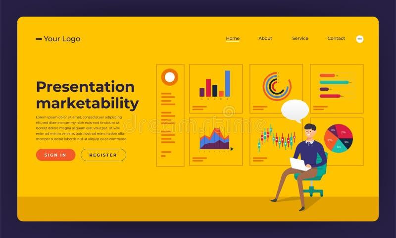 Habilidade lisa miliampère da apresentação do conceito de projeto do Web site do projeto do modelo ilustração stock
