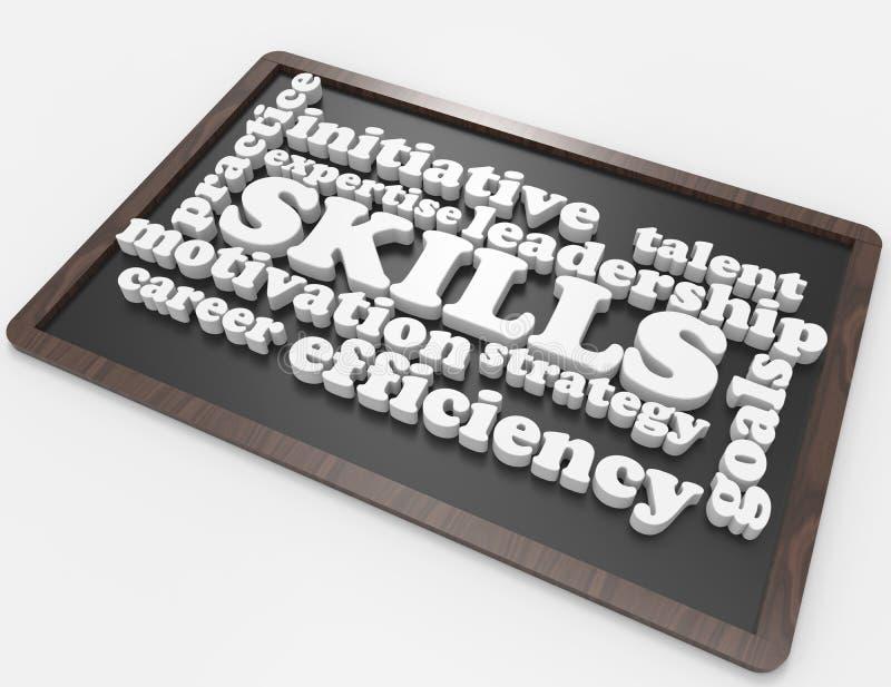 Habilidades, experiência, objetivos, liderança, carreira ilustração stock